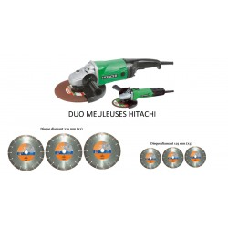 Lot meuleuses HITACHI 230mm, 125mm + 6 disques diamants GÖLZ