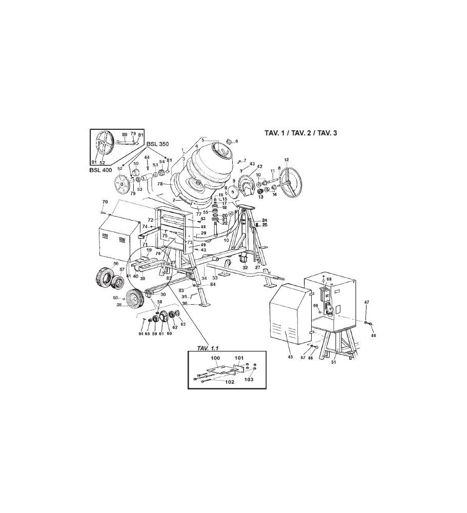 Pièces détachées bétonnière imer s350 thermique tractable 2010 à 2014