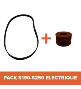 PACK - Courroie + Poulie pour bétonnière IMER S190-S250 Électrique Tractable