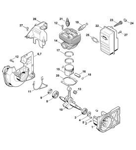 Pièces détachées pour carter vilebrequin de découpeuse à disque STIHL TS 400