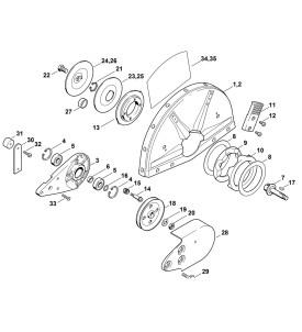 Pièces détachées pour palier avec protection découpeuse à disque STIHL TS 400