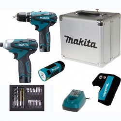 Ensemble de 2 machines sans fil + lampe torche MAKITA