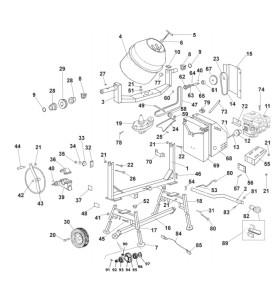 Pièces détachées bétonnière imer s350 Thermique tractable HONDA GX 160