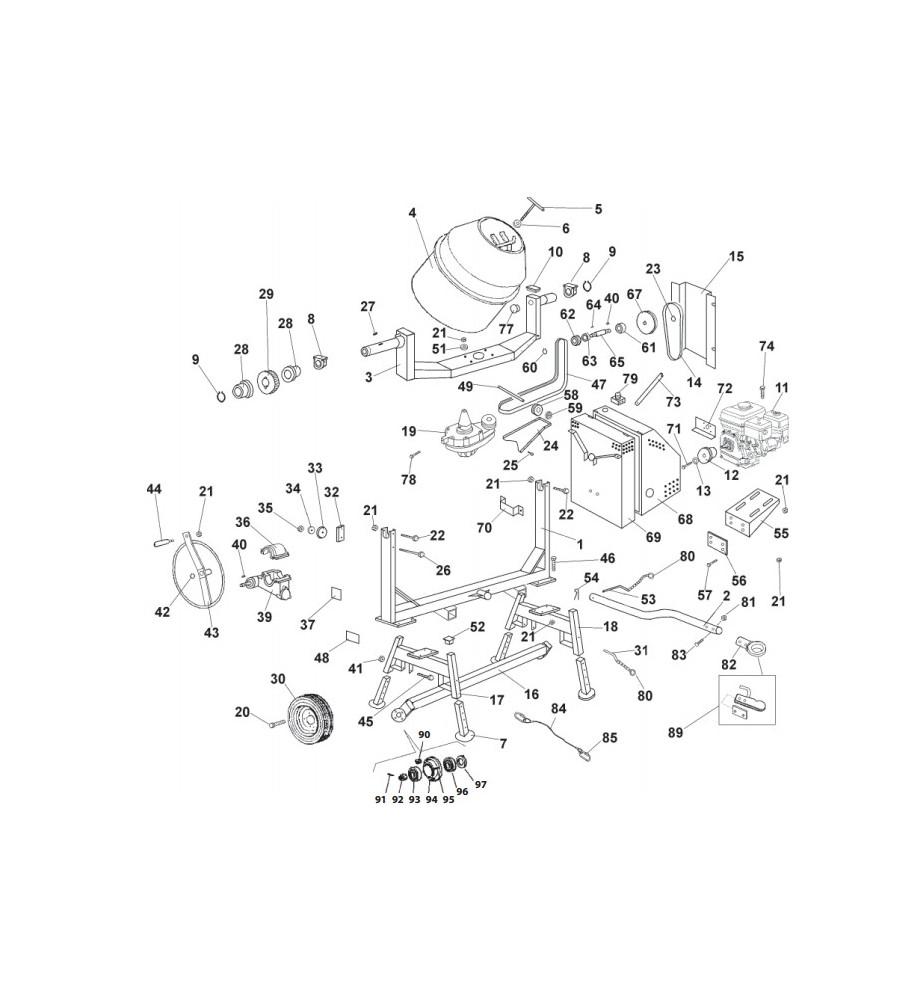 Pièces détachées bétonnière imer s350 Thermique tractable
